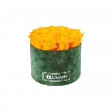 LARGE BLUMMIN GREEN VELVET BOX WITH YELLOW ROSES