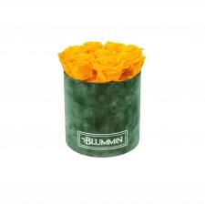 MEDIUM BLUMMIN GREEN VELVET BOX WITH YELLOW ROSES