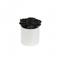 SMALL CLASSIC WHITE BOX WITH BLACK ROSES