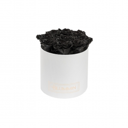 MEDIUM CLASSIC WHITE BOX WITH BLACK ROSES