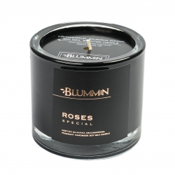 BLUMMiN BLACK SCENTED SOY WAX CANDLE 200g - ROSES SPECIAL