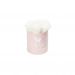 BABY GIRL - PINK BOX WITH 5 WHITE ROSES
