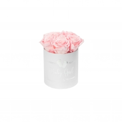 BABY GIRL - WHITE BOX WITH 5 BRIDAL PINK ROSES