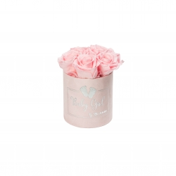 BABY GIRL - PINK VELVET BOX WITH 5 BRIDAL ROSES