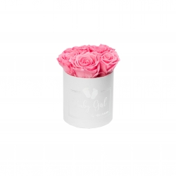 BABY GIRL - WHITE BOX WITH 5 BABY PINK ROSES