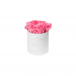 BABY GIRL - WHITE VELVET BOX WITH 5 BABY PINK ROSES