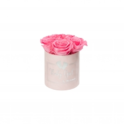 BABY GIRL - PINK VELVET BOX WITH 5 BABY PINK ROSES