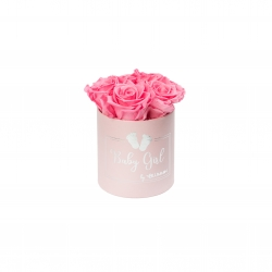 BABY GIRL - PINK BOX WITH 5 BABY PINK ROSES