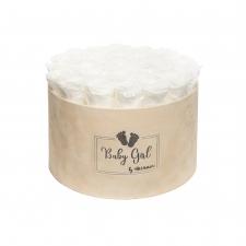 BABY GIRL - NUDE VELVET BOX WITH 25 WHITE ROSES