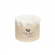 BABY GIRL - NUDE VELVET BOX WITH 17 WHITE ROSES