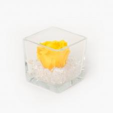 Klaasist vaas 8x8 cm YELLOW roosiga ja kristallidega S