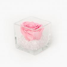 Klaasist vaas 8x8 cm BABY PINK roosiga ja kristallidega S