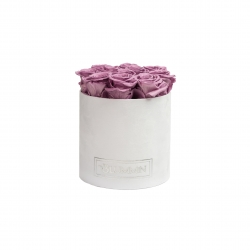 Medium WHITE LEATHER BOX WITH PEACHY PINK ROSES