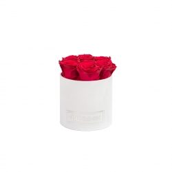 SMALL WHITE LEATHER BOX WITH PEACHY PINK ROSES