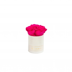 XS WHITE LEATHER BOX WITH HOT PINK ROSES
