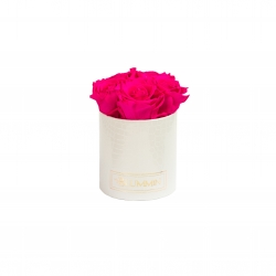 MIDI BLUMMiN - WHITE LEATHER BOX WITH HOT PINK ROSES