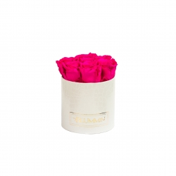 SMALL WHITE LEATHER BOX WITH HOT PINK ROSES