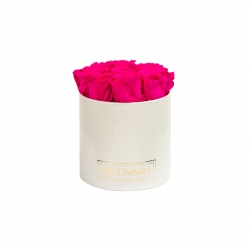 MEDIUM WHITE LEATHER BOX WITH HOT PINK ROSES