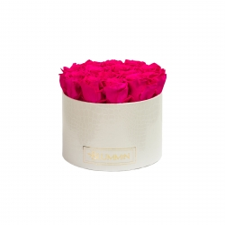 LARGE WHITE LEATHER BOX WITH HOT PINK ROSES