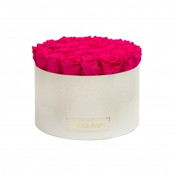 EXTRA LARGE WHITE LEATHER BOX WITH HOT PINK ROSES