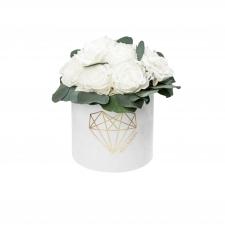 LILLEBUKETT - VALGE LOVE SAMETKARP WHITE ROOSID /VALGE GARDEENIA