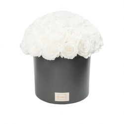 DARK GREY CERAMIC POT WITH 35-40 WHITE ROSES