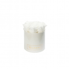 SMALL BLUMMiN - valge ussinahkse mustriga karp WHITE roosidega