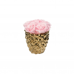 GOLDEN CERAMIC WITH 5 BRIDAL PINK ROSES