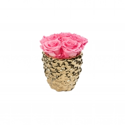 GOLDEN CERAMIC WITH 5 BABY PINK ROSES