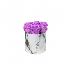 SMALL WHITE MARBLE BOX WITH VIOLET VAIN ROSES