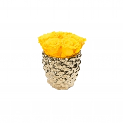 GOLDEN CERAMIC WITH 5 YELLOW ROSES