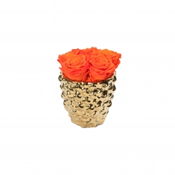 GOLDEN CERAMIC WITH 5 ORANGE ROSES