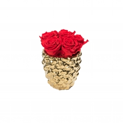 GOLDEN CERAMIC WITH 5 VIBRANT RED ROSES