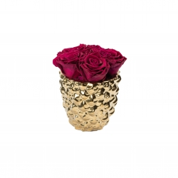 GOLDEN CERAMIC WITH 5 CHERRY ROSES