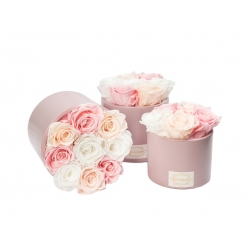 PINK CERAMIC POT WITH MIXED ROSES