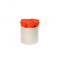 SMALL CREAMY BOX WITH ORANGE ROSES