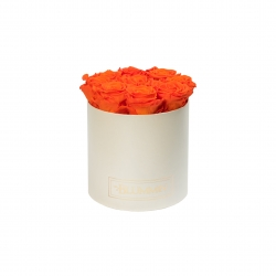 MEDIUM CREAMY BOX WITH ORANGE ROSES
