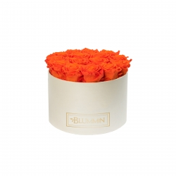 LARGE CREAMY BOX WITH ORANGE ROSES