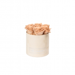 SMALL NUDE VELVET BOX WITH CAPPUCCINO ROSES