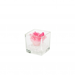 GLASS VASE WITH CANDY PINK ROSE AND CRYSTALS (8x8 cm)