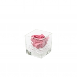 GLASS VASE WITH VINTAGE PINK ROSE AND CRYSTALS (8x8 cm)