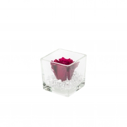 GLASS VASE WITH CHERRY ROSE AND CRYSTALS
