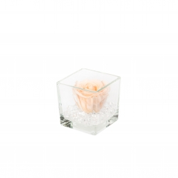 GLASS VASE WITH PEACHY PINK ROSE AND CRYSTALS (8x8 cm)