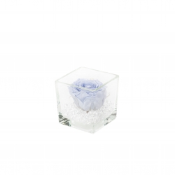 GLASS VASE WITH COOL LAVENDER ROSE AND CRYSTALS