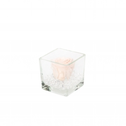 GLASS VASE WITH ICE PINK ROSE AND CRYSTALS (8x8 cm)