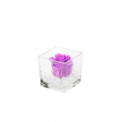 GLASS VASE WITH VIOLET VAIN ROSE AND CRYSTALS