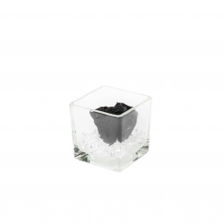 GLASS VASE WITH BLACK ROSE AND CRYSTALS (8x8 cm)