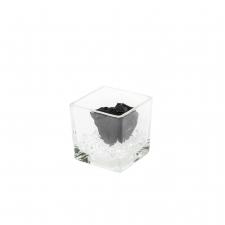 Klaasist vaas 8x8 cm BLACK roosiga ja kristallidega S