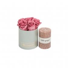 """KOMPLEKT """"Kallile õpetajale!"""" - Midi helehall karp Vintage Pink roosidega ja roosakaspruuni küünlaga"""