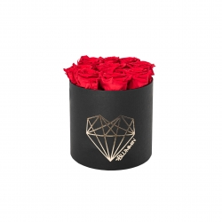 MEDIUM LOVE - BLACK BOX WITH VIBRANT RED ROSES